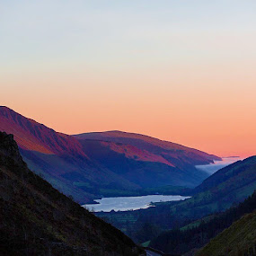 by Ben Rohleder - Landscapes Mountains & Hills ( Wales, sunset, fog, clouds, lowcloud, mist, evening, valley, lake )