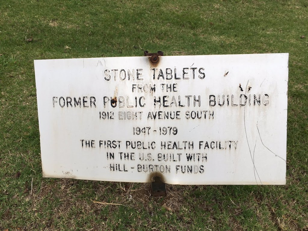 STONE TABLETSFROM THEFORMER PUBLIC HEALTH BUILDING1912 EIGHT AVENUE SOUTH 1947-1979THE FIRST PUBLIC HEALTH FACILITYIN THE U.X. BUILT WITHHILL-BURTON FUNDS Submitted by @LostToHistory