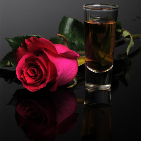 Red Rose and Tequila by Cristobal Garciaferro Rubio - Food & Drink Alcohol & Drinks ( cup, rose, tequila, reflecion, reflections, red rose, flowers, flower )