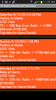 Screenshot of Schedule SF Giants fans 2015