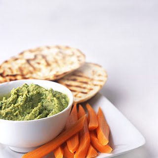 Chickpea Cilantro Dip with Grilled Pita and Carrot Sticks