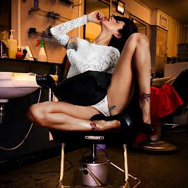 High Heels! by Mike Lloyd - Nudes & Boudoir Boudoir ( shoes, boudoir photography, chair, girl, senual )