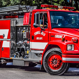 Fire Truck by Cristina Duarte - Transportation Roads ( red, fire truck, fire department )