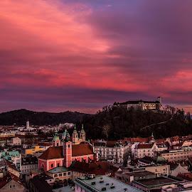 Burning sky by Mario Horvat - City,  Street & Park  Vistas ( sky, colorful, ljubljana, castle, cityscape,  )