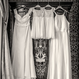 Bridesmaid's Dresses by Jamie Ledwith - Wedding Details ( dress, sepia, bridesmaids, wedding photography, weddings, monochrome, dresses, monochromatic, wedding, donnington grove )