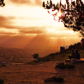 Great Seats by Brendan Mcmenamy - Novices Only Landscapes ( san diego, sunset, couple, seats, sun )