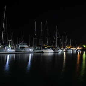 Private yachts 1 by Mark Luyt - Transportation Boats ( harbour, yachts, reflections, night, boats, water,  )