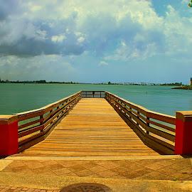 Cliché by Mel Rodriguez - City,  Street & Park  Vistas ( angles, water, wooden, blue sky, dock )
