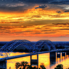 Sunset in Downtown Memphis, Tennessee August 2016 by Billy Morris - Landscapes Sunsets & Sunrises ( clouds, memphis, sky, colors, sunset, tennessee, bridge, landscape )