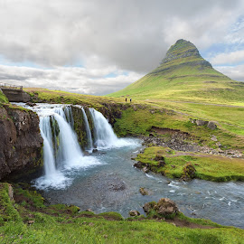 Waterfalls and Mt. Kirkjufell by Phyllis Plotkin - Landscapes Waterscapes ( clouds, iceland, waterfalls, mountain, waterscape, mt. kirkjufell )