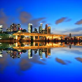 MBS Pool Reflection by Alit  Apriyana - City,  Street & Park  Vistas