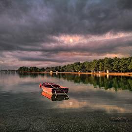 Bay Peace by Branko Meic-Sidic - Landscapes Waterscapes ( peaceful, hdr, beautiful, dramatic, lolić, croatia, seascape, brankomeicsidic, boat, colours, pirovac )