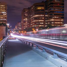 Longfellow Bridge by Paul Gibson - City,  Street & Park  Street Scenes ( boston, road, night, light trails, long exposure )