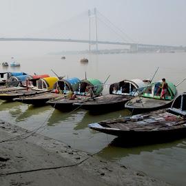 Boats at Princep Ghat, Kolkata by Subarna Dhara - Transportation Boats ( boating, waterscape, transport, water transport, boats,  )