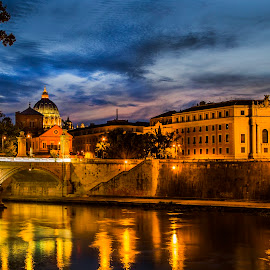 Rome by Cecile Nowers - City,  Street & Park  Night ( city scape, rome, river tiber, italy, travel photography, nightscape, city at night, street at night, park at night, nightlife, night life, nighttime in the city )