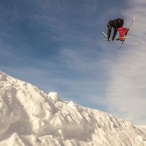 Ski Jump by Tom Cuccio - Sports & Fitness Snow Sports ( grab, skiing, park, jump )
