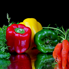 by Dipali S - Food & Drink Fruits & Vegetables ( peppers, healthful, diet, appetizing, yellow, delicious, health, edible, nutrition, tasty, red, nature, fresh, food, antioxidant, healthy, carrots, freshness, vegetarian, eat, ingredient, harvest, vegetable, natural )