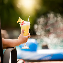 Fun to drink at pool by Girish Pandit - Food & Drink Alcohol & Drinks ( canon, water, pool, 200mm, party, bokeh )