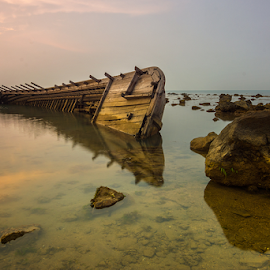 RIP by Ade Noverzan - Transportation Boats ( shipwreck, sunset, beach, landscape, rocks )