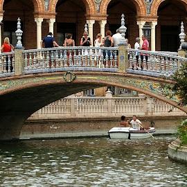 Seville Bridge by Ana Paula Filipe - Buildings & Architecture Bridges & Suspended Structures ( park, lak, seville, bridge, boat,  )