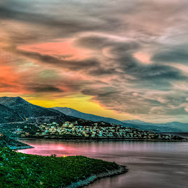 Interpretation of a Sunset II by Ioannis Alexander - Landscapes Cloud Formations ( cloud formations, clouds, landscape, dusk, skyscape )