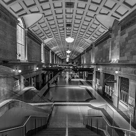 At the Station by Steve Badger - Buildings & Architecture Architectural Detail ( south australia, train station, black and white, australia, adelaide )
