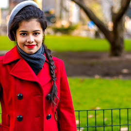 winter by Arnab Dutta - People Portraits of Women ( red, winter, park, woman, lady, beauty, portrait )