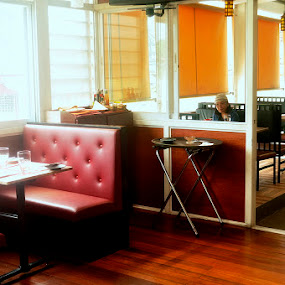 by Reagan Estrella - Food & Drink Eating ( tables · dinner · chairs · food · plate · dining, girl, waiting )