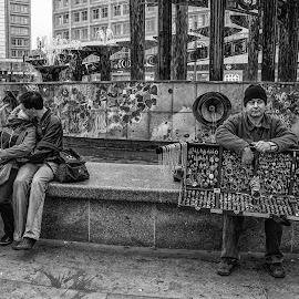 Love by Jose Hernan Cibils - City,  Street & Park  Street Scenes ( love, black and white, street, couple, people, man )