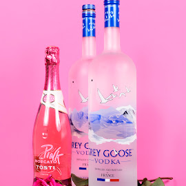 Pink Roses and Goose by Brian Sadowski - Food & Drink Alcohol & Drinks ( love, hearts, champagne, alcohol, drunk, roses, grey goose, valentine, vodka, romance, pink moscato, bubbly )
