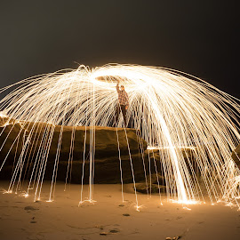 Light up the night by Jonathan Norton - Abstract Light Painting ( lights, light painting, beach, rocks, coast )