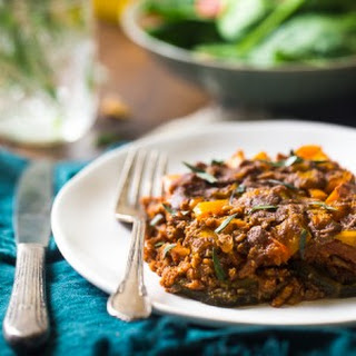 Paleo Casserole with Turkey, Peppers, Zucchini and Tomato