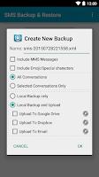 Screenshot of SMS Backup & Restore