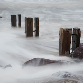 Youghal Strand 10-1-2018 by John Holmes - Landscapes Waterscapes ( old, wood, groynes, waves, sea, breakers, white water, rocks, weathered )