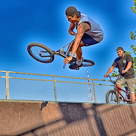 Free Like A Bird ! by Marco Bertamé - Sports & Fitness Other Sports ( sky, blue, jump, bicycle )