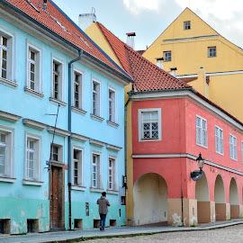 Three Colors by Tomasz Budziak - City,  Street & Park  Historic Districts ( street, czech republic, prague, city )