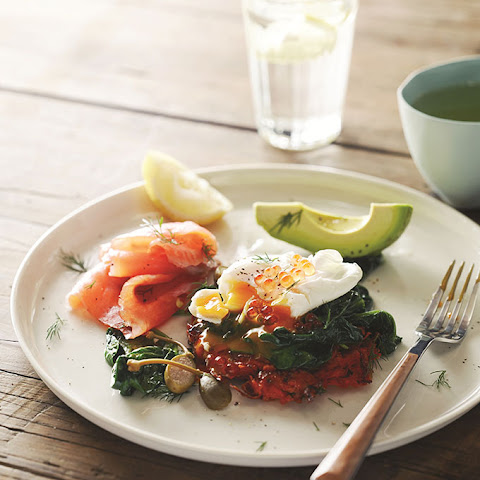 Sweet Potato Rosti with Poached Eggs, Spinach, Avocado & Smoked Salmon