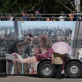 Pink Umbrella by VAM Photography - People Street & Candids ( bus, mural, umbrella, man, street photography )