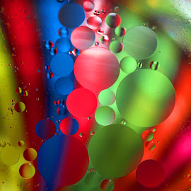 Oil Drop Array by Janet Herman - Abstract Macro ( abstract, oil drops, oil and water, macro, colors, floating, array )