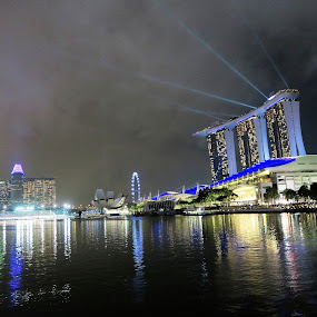 Illumined Marina Bay of Singapore by Dennis  Ng - City,  Street & Park  Skylines (  )