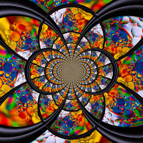 Technicolour Kaleidoscope by Carole Pallier  - Digital Art Abstract ( colour, water, kaleidoscope, patterns, drops, rocks, shapes, oil )