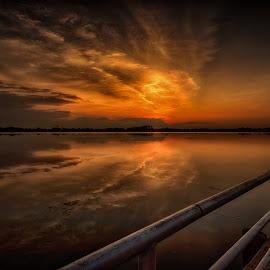 Hold On To The Sky by Linda Karlin - Landscapes Sunsets & Sunrises ( clouds, sunset, weather, landscape )