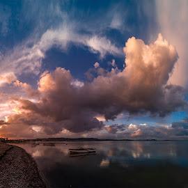 clouds by Enver Karanfil - Landscapes Sunsets & Sunrises ( sunrise, urla, sunset, clouds, boats, sea,  )