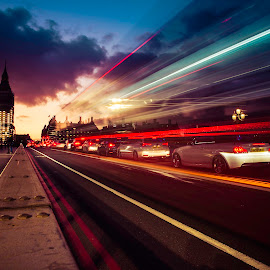 Light trails at night by Has Berkul - City,  Street & Park  Night ( lights city london big ben longexposure )