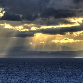 My welcome to Vancouver Island by Chris Pepper - Landscapes Cloud Formations ( clouds, vancouver island, mountian, sun rays )