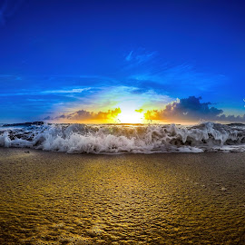Rise & Fall by Mike Whitehead - Landscapes Sunsets & Sunrises ( blue sky, waves, ocean, beach, sunrise,  )