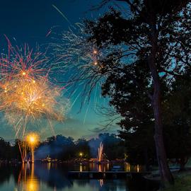 Fireworks Celebration by Sean Doran - Landscapes Beaches ( holiday, michigan, traverse, july, celebration, 4th, city )