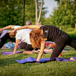 Yoga Class in the Park by Myra Brizendine Wilson - Sports & Fitness Fitness ( fitness, exercise, yoga in the park, yoga, yoga class,  )