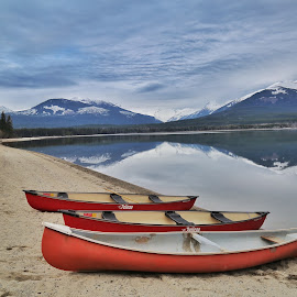 Breaking Glass. by Todd Bellamy - Transportation Boats ( reflection, canoeing, scouts, lake, landscape )
