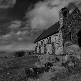 Church of the good shepherd by Yani Dubin - Black & White Landscapes ( water, gimp, otago, monochrome, church, church of the good shepherd, black and white, stone, lake, architecture, landscape, old building, new zealand, wide lens, lake tekapo, d7000, tokina af 12-28mm f4 )